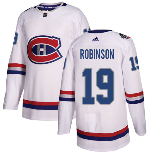 Adidas Canadiens #19 Larry Robinson White Authentic 2017 100 Classic Stitched NHL Jersey