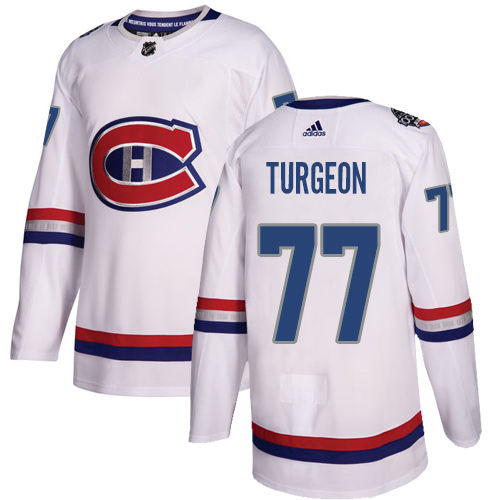 Adidas Canadiens #77 Pierre Turgeon White Authentic 2017 100 Classic Stitched NHL Jersey