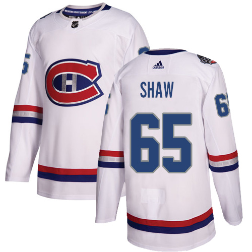 Adidas Canadiens #65 Andrew Shaw White Authentic 2017 100 Classic Stitched NHL Jersey