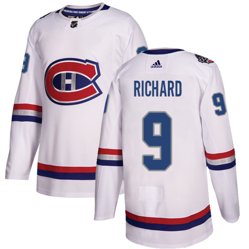 Adidas Canadiens #9 Maurice Richard White Authentic 2017 100 Classic Stitched NHL Jersey