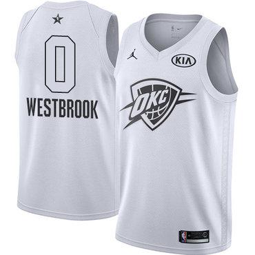 Nike Thunder #0 Russell Westbrook White NBA Jordan Swingman 2018 All-Star Game Jersey
