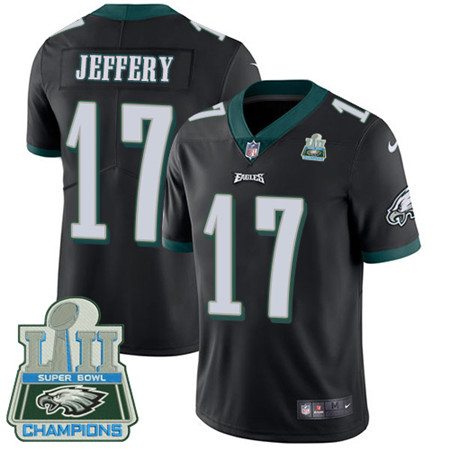 Nike Eagles #17 Alshon Jeffery Black Alternate Super Bowl LII Champions Men's Stitched NFL Vapor Untouchable Limited Jersey