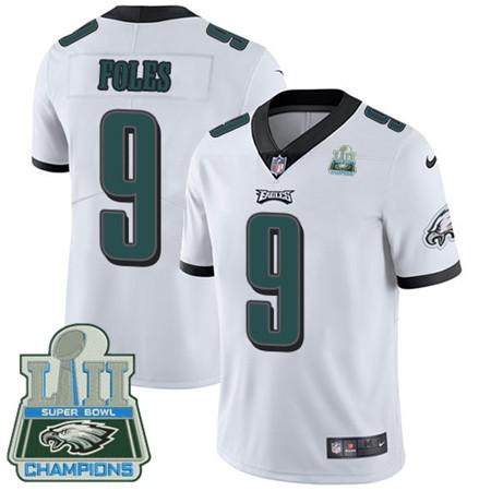Nike Eagles #9 Nick Foles White Super Bowl LII Champions Men's Stitched NFL Vapor Untouchable Limited Jersey