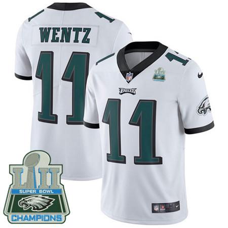 Nike Eagles #11 Carson Wentz White Super Bowl LII Champions Men's Stitched NFL Vapor Untouchable Limited Jersey
