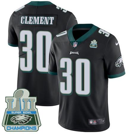 Nike Eagles #30 Corey Clement Black Alternate Super Bowl LII Champions Men's Stitched NFL Vapor Untouchable Limited Jersey