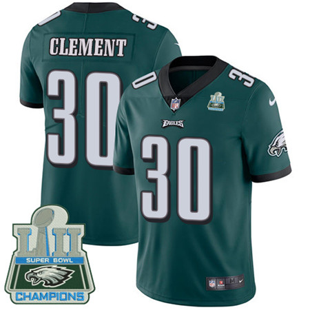 Nike Eagles #30 Corey Clement Midnight Green Team Color Super Bowl LII Champions Men's Stitched NFL Vapor Untouchable Limited Jersey