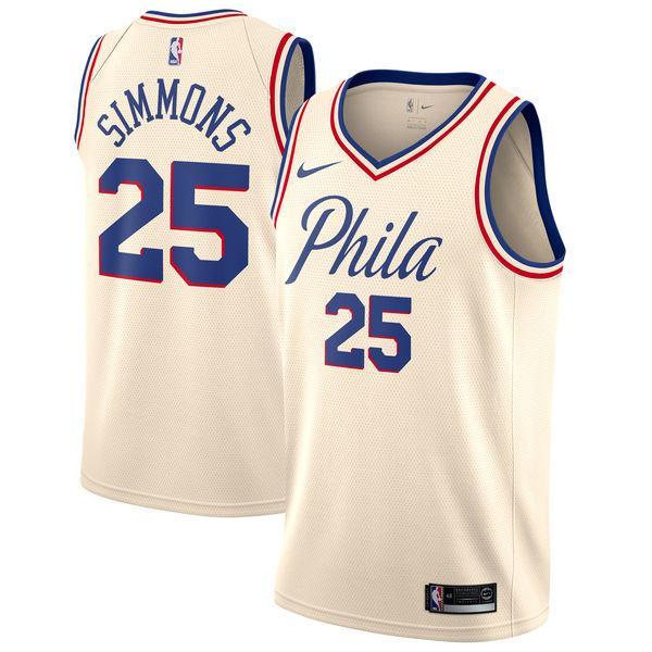 Nike Philadelphia 76ers #25 Ben Simmons Cream NBA Swingman City Edition Jersey