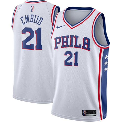 Nike Philadelphia 76ers #21 Joel Embiid White NBA Swingman Association Edition Jersey