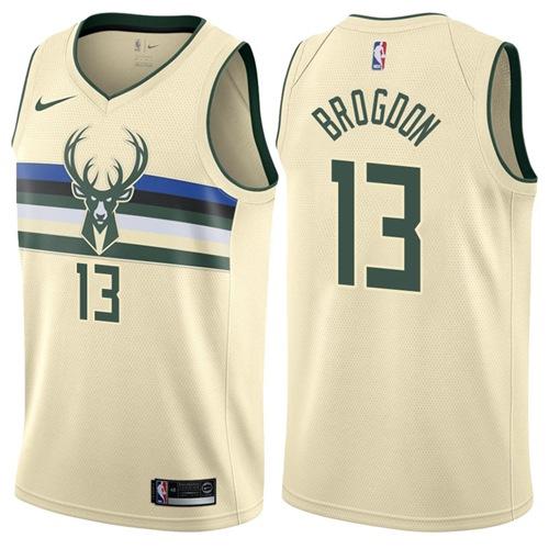 Nike Milwaukee Bucks #13 Malcolm Brogdon Cream NBA Swingman City Edition Jersey
