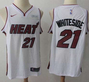 Nike Miami Heat #21 Hassan Whiteside White NBA Swingman Association Edition Jersey
