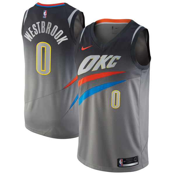 Nike Oklahoma City Thunder #0 Russell Westbrook Gray NBA Swingman City Edition Jersey