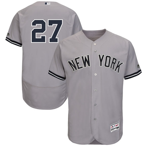 Men\u0027s New York Yankees #27 Giancarlo Stanton Grey Flexbase Authentic  Collection Stitched MLB Jersey