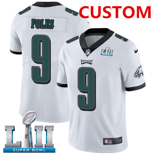 Custom Men's Nike Eagles White Super Bowl LII Stitched NFL Vapor Untouchable Limited Jersey