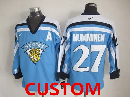 Custom Men's Team Finland Nike Light Blue Vintage Throwback Jersey