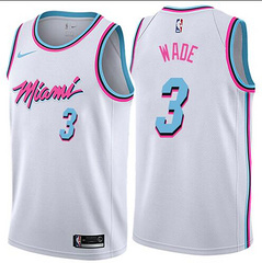 Nike Heat #3 Dwyane Wade White NBA Swingman City Edition Jersey