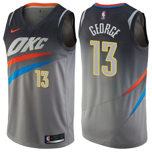 Nike Oklahoma City Thunder #13 Paul George Gray NBA Swingman City Edition Jersey