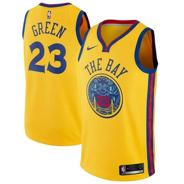 Nike Golden State Warriors #23 Draymond Green Gold NBA Swingman City Edition Jersey