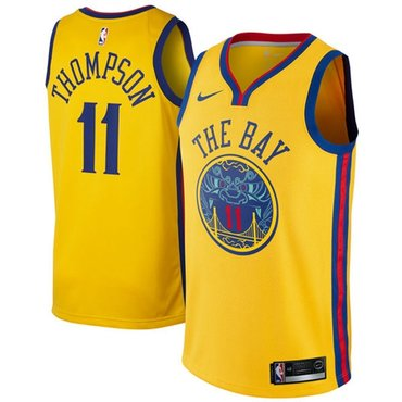 Nike Golden State Warriors #11 Klay Thompson Gold NBA Swingman City Edition Jersey