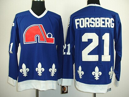 Quebec Nordiques #21 Peter Forsberg Navy Blue Throwback CCM Jersey