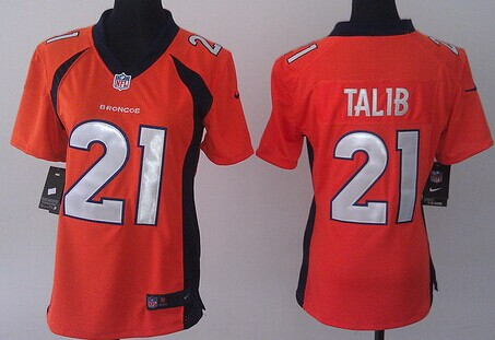 nike denver broncos 21 aqib talib 2013 orange game womens jersey
