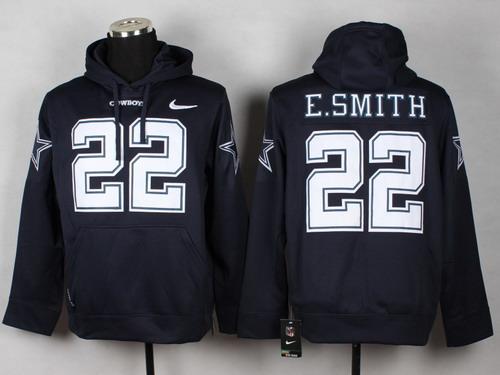 47045b3af116 ... Nike Dallas Cowboys 22 Emmitt Smith Blue Hoodie Nike Dallas Cowboys 22  Emmitt Smith Navy Blue White Name Number Pullover NFL ...