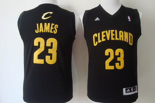 new concept ef7cf 53cc8 cleveland cavaliers 23 lebron james black with gold kids jersey