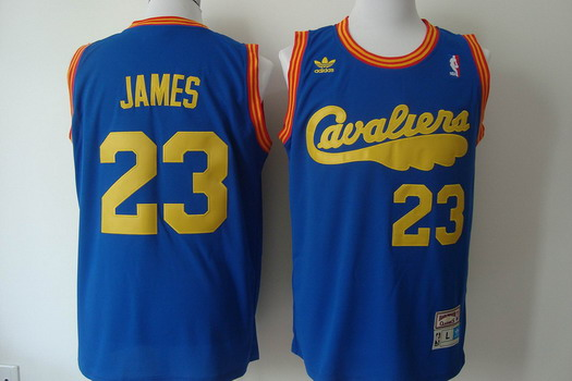 73a5e9ccd ... Shaquille ONeal Cleveland Cavaliers 23 LeBron James 2009 Blue Swingman  Throwback Jersey ...