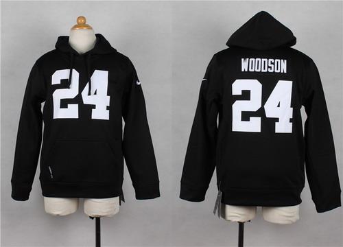 Nike Oakland Raiders #24 Charles Woodson Black Kids Hoodie