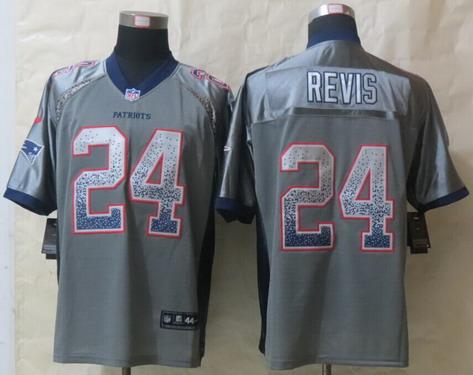 d7d390561 Nike New England Patriots  24 Darrelle Revis Drift Fashion Gray Elite Jersey