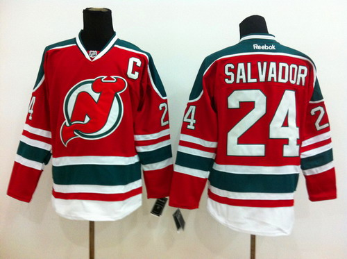 New Jersey Devils #24 Bryce Salvador Red With Green Jersey