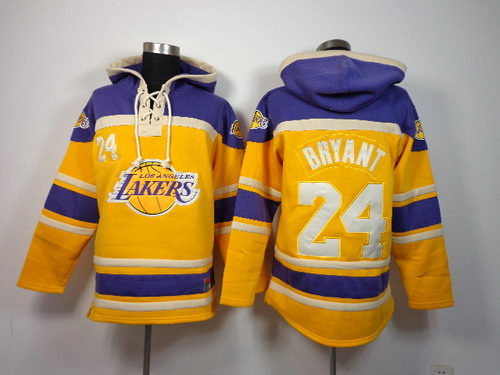 Los Angeles Lakers #24 Kobe Bryant Yellow Hoodie