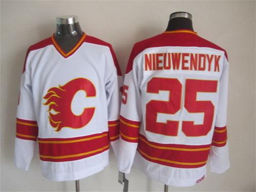 Calgary Flames #25 Joe Nieuwendyk White Throwback CCM Jersey