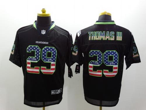 ... NFL Seattle Seahawks Nike Nike Seattle Seahawks 29 Earl Thomas III 2014  USA Flag Fashion Black Elite Jersey 6831a9e4f