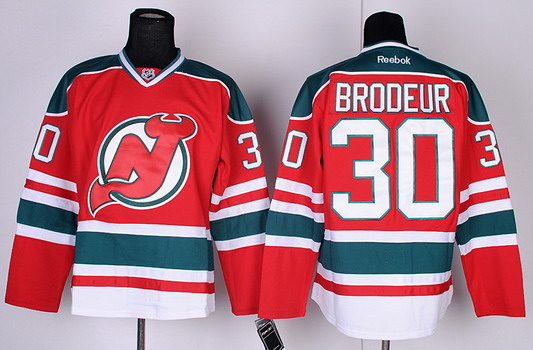 New Jersey Devils #30 Martin Brodeur Red With Green Jersey
