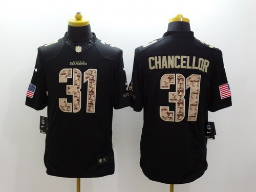 a7f86e0a8 Nike Seattle Seahawks  31 Kam Chancellor Salute to Service Black Limited  Jersey