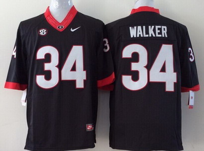 Georgia Bulldogs #34 Herschel Walker 2014 Black Limited Kids Jersey