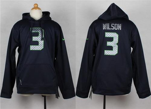 Nike Seattle Seahawks #3 Russell Wilson Navy Blue Kids Hoodie