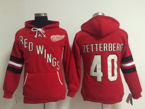 41a82916dc4 Old Time Hockey Detroit Red Wings  40 Henrik Zetterberg Red Womens Hoodie