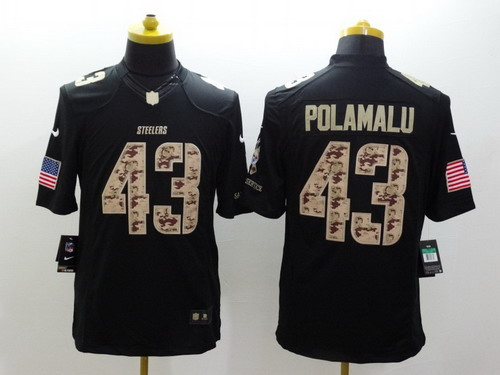 6dfbd5487e6 ... Nike Pittsburgh Steelers 43 Troy Polamalu Salute to Service Black Limited  Jersey Pink Troy Polamalu Nike Rush Fashion ...