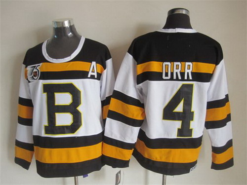 ... Black Name Number Pullover NHL Hoodie Boston Bruins 4 Bobby Orr White  75TH Throwback CCM Jersey ... ba6ec9a28
