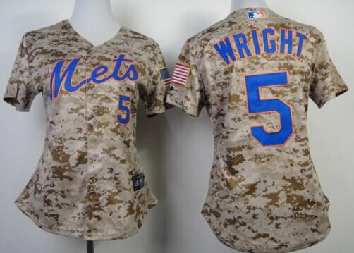 aaa88a79e ... New York Mets 5 David Wright 2014 Camo Womens Jersey ...