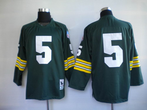 dba537b1 ... Ray Green Bay Packers 5 Paul Hornung Green Long-Sleeved Throwback Jersey  ...