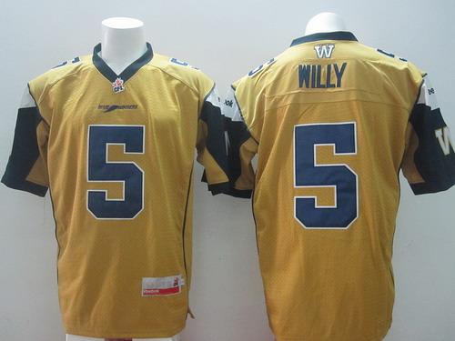 CFL Winnipeg Blue Bombers #5 Drew Willy Yellow Jersey