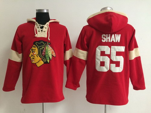 2014 Old Time Hockey Chicago Blackhawks #65 Andrew Shaw Red Hoodie