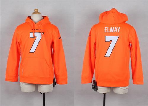 Nike Denver Broncos #7 John Elway Orange Kids Hoodie