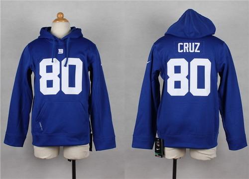 Nike New York Giants #80 Victor Cruz Blue Kids Hoodie