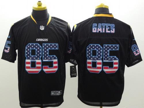 ... Nike San Diego Chargers 85 Antonio Gates 2014 USA Flag Fashion Black  Elite Jersey ... 803e94ca8