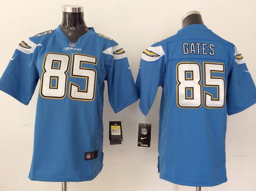 ... Nike San Diego Chargers 85 Antonio Gates 2013 Light Blue Game Kids Jersey  Women ... 5d2d5b69d