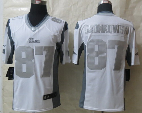 Nike New England Patriots  87 Rob Gronkowski Platinum White Limited Jersey fce6938a1