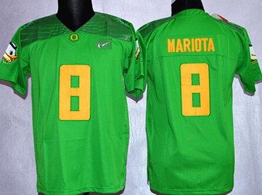 Oregon Duck #8 Marcus Mariota 2015 Playoff Rose Bowl Special Event Diamond Quest Light Green Kids Jersey